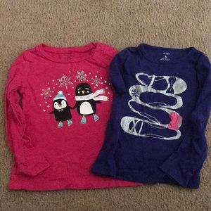2 Carter's long Sleeved Shirts 4T
